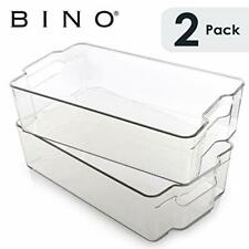 BINO Stackable Plastic Organizer Storage Bins, X-Large - 2 Pack X-Large - 2 PACK