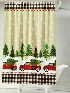 Christmas in July Red Truck Fabric Shower Curtain Holiday Buffalo Check Country