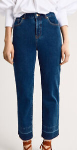 Massimo Dutti High Waist Frayed Straight Cropped Leg Dark Washed Jeans Denim