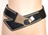CEINTURE femme noir eco cuir élastique élégant cadeau boucle argent fête A14