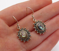 925 Sterling Silver - Vintage Abalone & Marcasite Floral Dangle Earrings - E7966