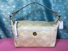 Coach Authentic Make-up Bag Purse handbag Beige Cream Canvas & White Leather