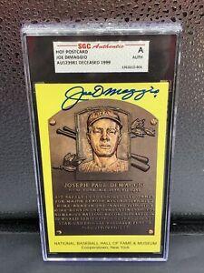 Joe DiMaggio Autographed Signed HOF Plaque Postcard Yankees SGC Authentic