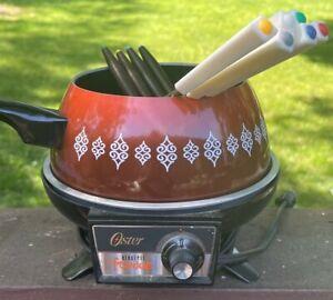 Vintage Oster Electric Fondue Pot Cooker Forks Recipe Book  🦋