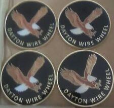 "Dayton Wire Wheels Set Of 4 Black & Gold Metal Eagle Emblems Size 2.38"""