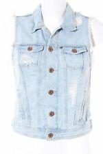 H&M Jeansweste wollweiß-himmelblau Used-Optik Damen Gr. DE 36 wollweiß Weste