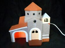 """Ceramic Plug In Light Up Church W/ Stained Glass Windows 7.5"""" Wide 8"""" Tall Decor"""
