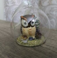 Vintage Hand Blown Glass Ball w/ Owl Pinecones inside Christmas Tree Ornament