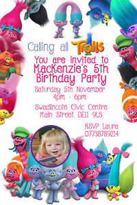 Personalised Photo Trolls Film Birthday Party Invites inc envelopes TROLL4