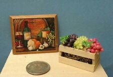 Dollhouse Miniature Wine Plaque (assorted styles) & small box mixed grapes 1:12