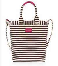 Henri Bendel Striped Magazine Tote Bag Nwt Dark Pink Sold Out Color