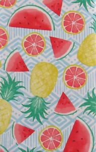 Summertime Fruits on Geometric Abstract Vinyl Flannel Back Tablecloth-Var Sizes