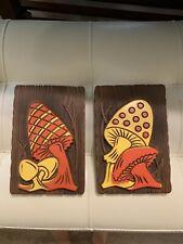 "Vtg 1972 ""Miller Studio Inc"" Retro 3D Trippy Mushrooms Plaque Chalkware Wall Art"