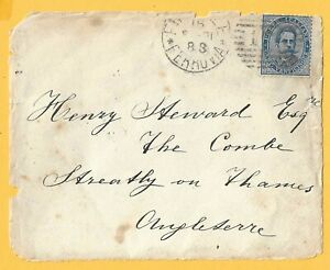 ITALY 1888 - SG 34 - 25c. Blue (King Umberto I)  - on Piece of Cover - Fine