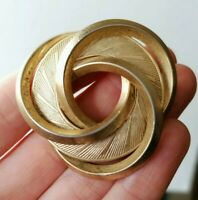 VINTAGE 50s 60s Statement Knot Pin Gold Tone Twist Bold Power Dressing Brooch