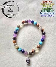 28 Bead Chakra Undyed Natural 6mm Gemstone Karma Power Bracelet 'ⁿ Buddha Charm