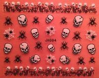 Nail Art 3D Decal Stickers Halloween Skull Skeleton Spider Web JH094