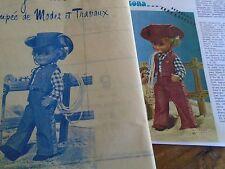 """T 9 PATRON POUPEE """"JEAN-MICHEL"""" MODES ET TRAVAUX""""""""COSTUME DE COW-BOY 1975"""