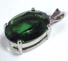 Siberian quartz tourmaline colour oval Cut Pendant Solid Sterling Silver, Chain