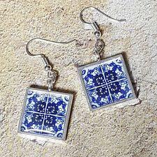 Unique Handmade 'LISBON' TILE EARRINGS blue & white PORTUGUESE spain PORTUGAL
