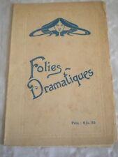 Vintage Programme Theatre Folies Dramatiques 1920s Theater Memorabilia Playbills