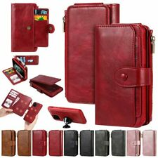 Multifunctional detachable flip wallet leather zipper case magnetic closure