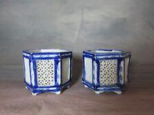 Pots bleus (la paire) en porcelaine de chine Fin XIX eme