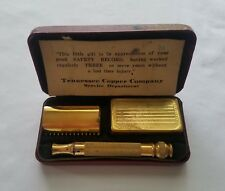 1927 - 1950 3-PIECE GOLD-PLATED GILLETTE SAFETY DE RAZOR SET IN RED LEATHER BOX