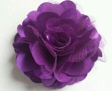 "Girls Womens 3""satin & Net Full Flower Hair Clip, Brooch, corsage PURPLE."