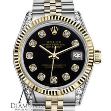 Rolex 36mm Datejust 2 Tone Black Color Dial with Diamond & Fluted Unisex Watch