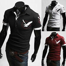 New Fashion Mens Stylish Eagle Print Polo Pique Collar Casual T-Shirts Top B758