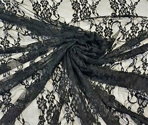 """Black Floral Stretch Netting Lace Apparel Craft Fabric 58"""" Wide By The Yard"""