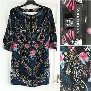 Warehouse Black Floral Shift Dress Size 8 Short 3/4 Sleeves Party Occasion