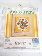 Vtg New Spinnerin Rug Pattern #389 Pennsylvania Dutch Latch Hook Canvas 15x15