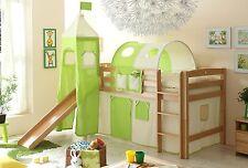 Lit mezzanine avec toboggan et tour TOBY R Hêtre massif tissus Beige-Vert