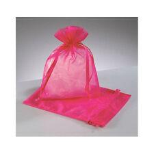 60 Organza Bags HOT PINK / FUSCHIA / MAGENTA 9cm x 13cm Bonboniere gift NEW