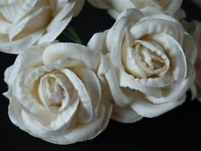 10 Mulberry Paper ROSES 45mm IVORY WHITE: Many OTHER COLOURS AVAILABLE