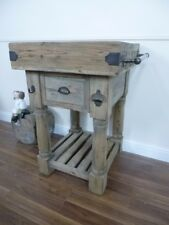 Farmhouse Style Butchers Block Bench - One Drawer - Solid Wood