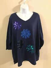 Quacker Factory 2X Knit Top 3/4 Sleeve Navy Blue Sequin Flowers Daisy QVC New