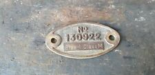 Vintage stationary engine Ruston Hornsby engine number and spec badge