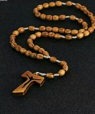 Wooden rosary bead necklace cross crucifix brown fathers day mens boy women gift