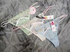 3 x Pairs ~ UK SIZE 10/12 REGENCY STRIPED PASTEL COTTON TANGA THONG BNWT MEDIUM