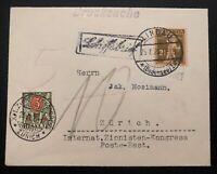 1929 Lindau Switzerland Zionist Congress  Cover To Zurich Postage Due