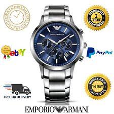 NUOVO EMPORIO ARMANI AR2448 Da Uomo Cronografo in Acciaio Inox Blu 2 anni di garanzia
