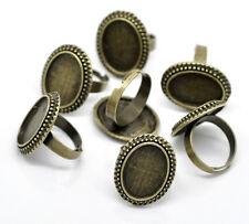 10 Bijoux Supports de bague réglable plateau Bronze 17.5mm(pr camée 18x13mm)