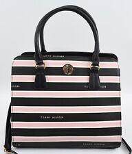TOMMY HILFIGER Black/Pink/White Striped Satchel Bag, Top Handle or Crossbody