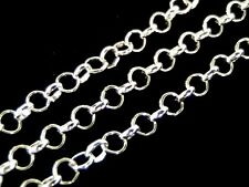 2 x 1 Metre Silver Plated Rolo Chain 4mm x 3mm Links Jewellery Beading V120
