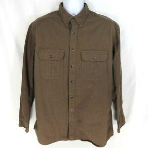 Vintage Cabela's Deerskin Soft Chamois Flannel Shirt Men's Size L Large Brown