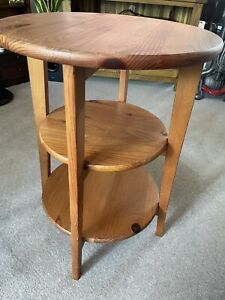 Stylish Mid Century 3 Tier Wine, Sofa Or Side Table In Antique Pine