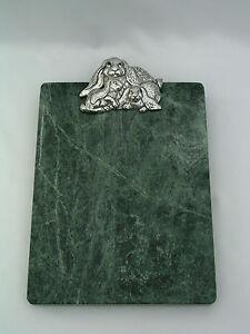 ARTHUR COURT 1994 BUNNY RABBIT CHEESE BOARD - GREEN MARBLE - CARNELIAN EYES